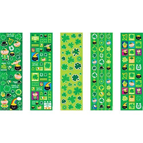 Shamrockin St  Patricks Day Party Paper Stickers   Green  Paper   10 1 4  X 3   Pack Of 5