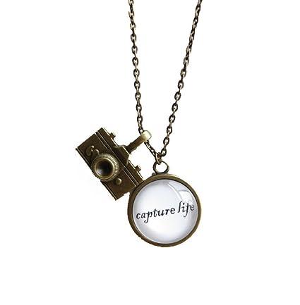 Amazon capture life inspirational quote pendant necklace with capture lifeinspirational quote pendant necklace with camera charm aloadofball Gallery