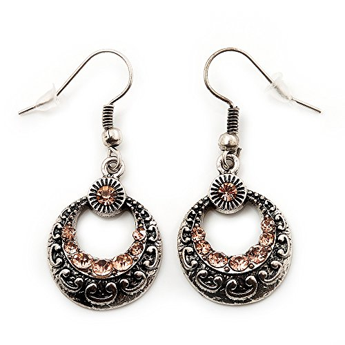 Boucles d'oreille pendant diamante rond martelé vintage (métal argente brûlé et cristaux champagne) - longueur 4cm