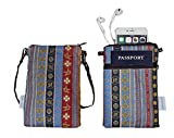 Cross Body Phone Pouch for Women, Tainada Universal Folk Style Crossbody Travel Dual Zippered Wallet Purse Bag with Detachable Strap for iPhone Xs Max, XR, Samsung S9, S9+ Note 9 (Ethnic Pattern)