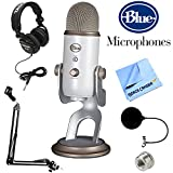 BLUE MICROPHONES Yeti USB Microphone Midnight Blue (Yeti Vintage White) + Professional Headphones + Suspension Boom Scissor Arm Stand + Microphone Wind Screen + Mic Stand Adapter + MicroFiber Cloth
