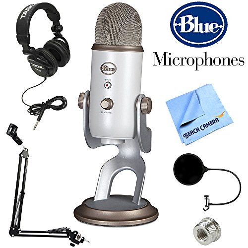 BLUE MICROPHONES Yeti USB Microphone Midnight Blue (Yeti Vintage White) + Professional Headphones + Suspension Boom Scissor Arm Stand + Microphone Wind Screen + Mic Stand Adapter + MicroFiber Cloth by Blue Microphones
