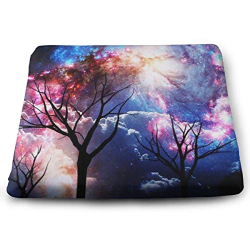Seat Cushion, Office Chair Wheelchair Car Cushion Floor Pad - Galaxy Tree Starry Night Cushion, Comfort Chair Cushion Lumbar Pillow for Lumbar Support/Backrest