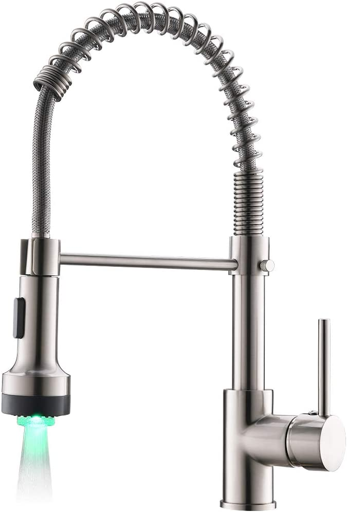 Modern Kitchen Faucet Pull Down Sprayer, Stainless Steel Single