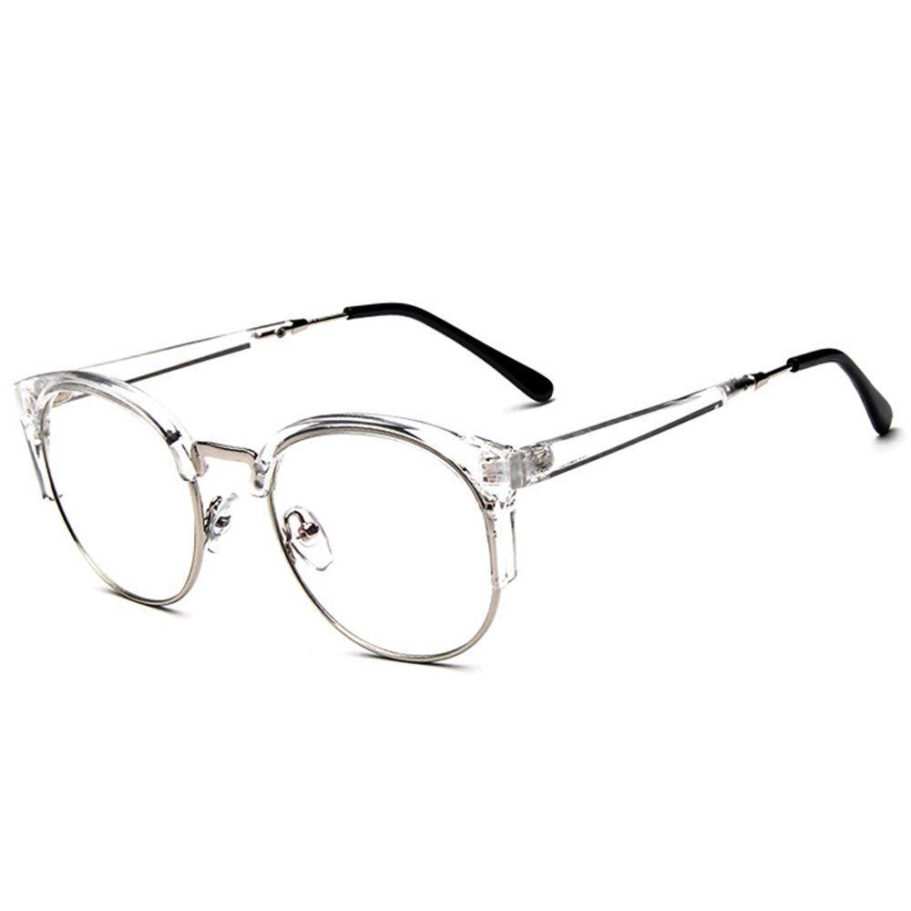 Originales gafas vintaje de montura transparente con patillas y bisagras metálicas.