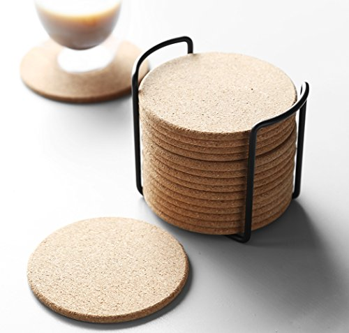 Natural Cork Coaster with Holder, Absorbent Coaster for Wine, Best for Drinks in Office, Home, or Cottage,Round, Set of 16, 4 inches by LAUCHUH (Image #3)