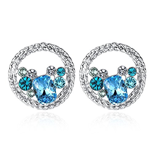 Presented By Miss New York  Leafael  Ocean Wave  Swarovski Crystal Multi Stone Aqua Blue Circle Earrings  Silver Tone Chain  Nickel Lead Allergy Free  Luxury Gift Box