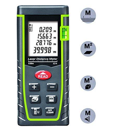 Arama Digital Laser Distance Meter 40m Measure tool Range Finder with Large Backlit LCD 4 Line Display, Bubble Level, Self Calibration Rangefinder (LDM-T40 40m 131ft)