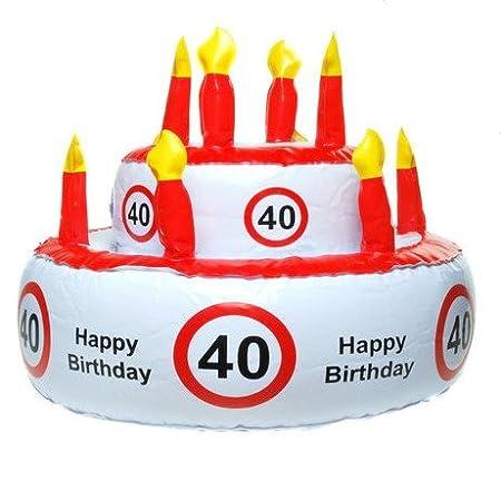 Tarta de cumpleaños hinchable 40 años para fiestas cumpleaños