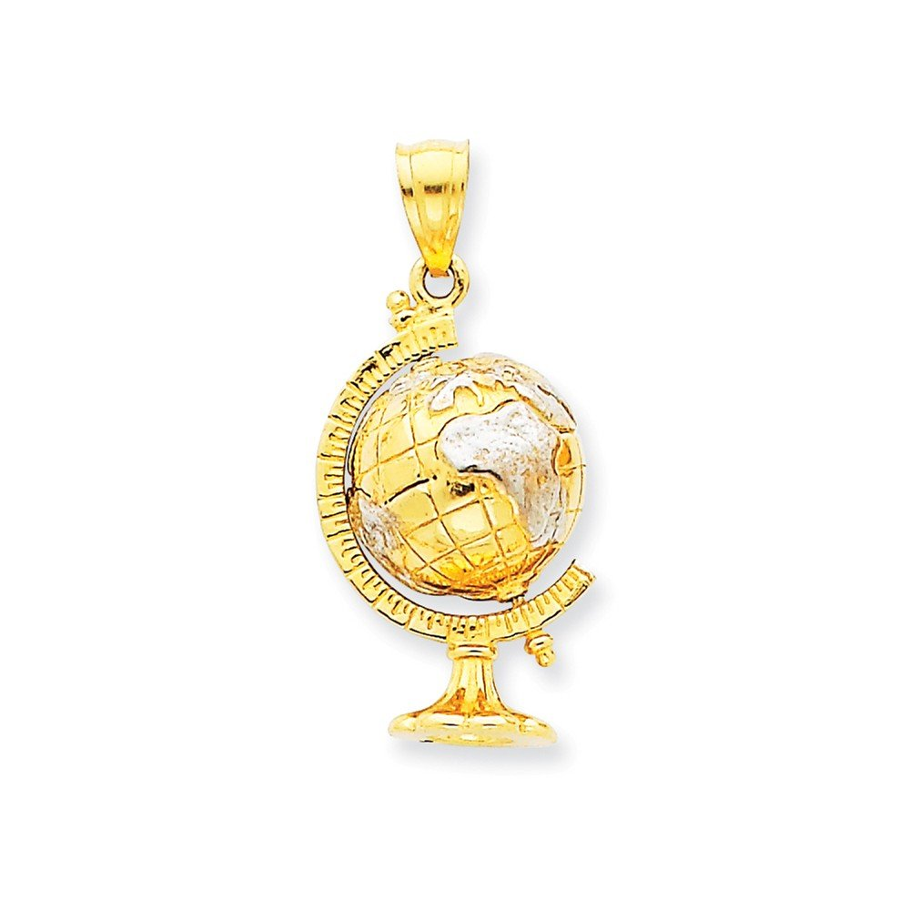 14K Two-tone Gold 3-D Moveable World Globe Charm Pendant by Pendants Travel and Transportation