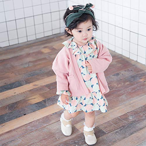 Mornyray Toddler Little Girl Floral Printed Long Sleeve Dress Knitted Cardigan Coat Size 73 (Pink) by Mornyray (Image #3)