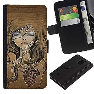 WINCASE (No Para S5) Cuadro Funda Voltear Cuero Ranura Tarjetas TPU Carcasas Protectora Cover Case Para Samsung Galaxy S5 Mini, SM-G800 - chica corazón profundo amor emo textura