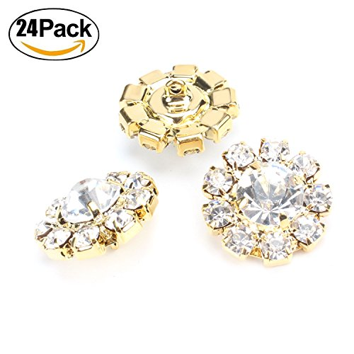 Glass Gold Buttons - Wholesale 24PCS 16MM Gold Plated Metal Clear Rhinestone Glass Buttons Supplies Bulk for Craft (Shank)