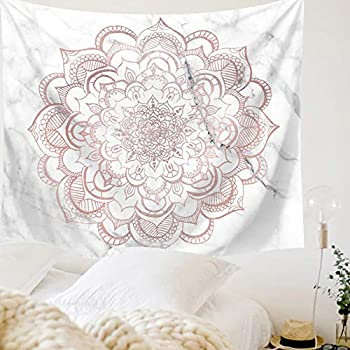 Indusleaf Pink Mandala Tapestry Wall Hanging - Bohemian Living Room Wall Decor for Women Girls, Boho Medallion Gary Marble Tapestry for Room