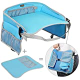 Kids Travel Tray EocuSun Childrens Snack Play Trays Shoulder Bag with Mesh Pockets and Cup Holders for Car Seats Snacks Bus Train and Plane Journeys (Blue)