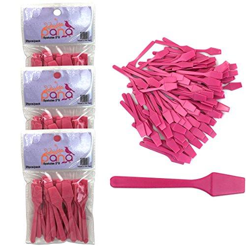 "Beauticom Pana Brand (Pink Color) (3 Packs of 25pcs = 75 Pieces) Cosmetic Make Up Disposable Plastic 2.5"" Spatulas Skin Care Facial Cream Mask Spatula"