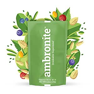 Meal Replacement Nutritional Shake by Ambronite - High Fiber Superfood & Protein Drink for Healthy Weight Loss - All Natural Smoothie Mix for Men and Women - Quench Hunger, 4.2 oz, 500 cal, Box of 10