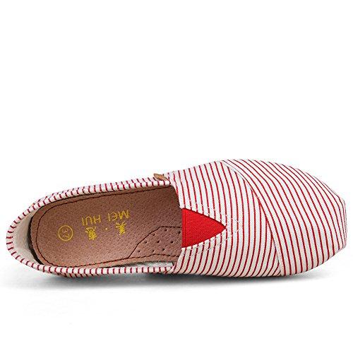 Mocassino Da Donna Scivolo Su Mocassini Di Tela Scarpe A Strisce Piatte Espadrillas Pantofola Mh-7 Striscia Rossa