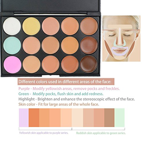 EVERMARKET 15 Colors Professional Concealer Camouflage Makeup Palette Contour Face Contouring Kit with Premium Oval Make Up Brush