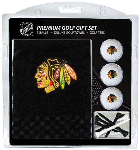 NHL Chicago Blackhawks Embroidered Golf Towel, 3 Golf Ball, and Golf Tee (Towel Ball Tee)