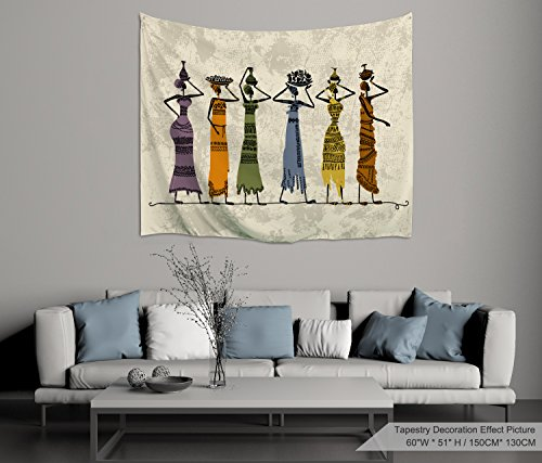 - PROCIDA Home Tapestry Wall Hanging Nature Art Polyester Fabric African Woman Theme, Wall Decor for Dorm Room, Bedroom, Living Room, Nail Included - 60