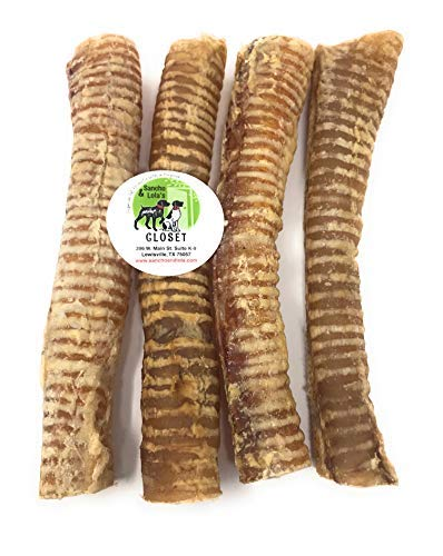 Sancho & Lola's 12-Inch Pharmaceutical-Grade Beef Trachea for Dogs Made in USA (4-Count) / Nutrition-Rich with Glucosamine and Chondroitin/Naturally Grain-Free & Rawhide-Free
