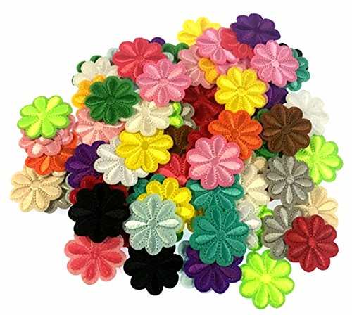 (RayLineDo 100PCS Assorted Color Small Flower Patch Stickers Embroidery Badge Iron On Applique Patch for Bags Jackets Tablecloth Bedsheets)