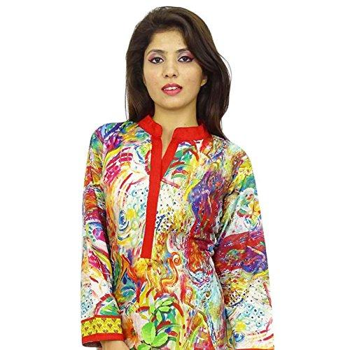 Diseñador indio de Bollywood Mujeres Rayón Algodón étnico Kurti de vestir casual TopTunic Multicolor