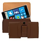 kwmobile bum bag case for Nokia Lumia 830 with belt clip - imitation leather belt case with belt loop in brown