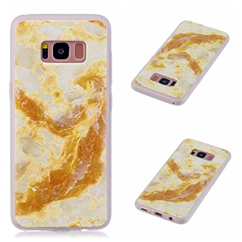 Funda Samsung Galaxy S8,XiaoXiMi Carcasa de Silicona TPU Suave y Esmerilada Funda Ligero Delgado Carcasa Anti Choque Durable Caja de Diseño Creativo - Mapa Mármol