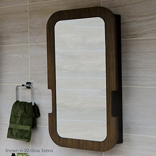 Lacava Wood Cabinet (Wall mounted medicine cabinet with wood frame, right hinged mirror door, three adjustable glass shelves, 20