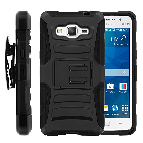 Galaxy Grand Prime Case, Galaxy Grand Prime Holster, Two Layer Hybrid Armor Hard Cover with Built in Kickstand for Samsung Galaxy Grand Prime SM-G530H, SM-G530F (Cricket) from MINITURTLE | Includes Screen Protector - Black