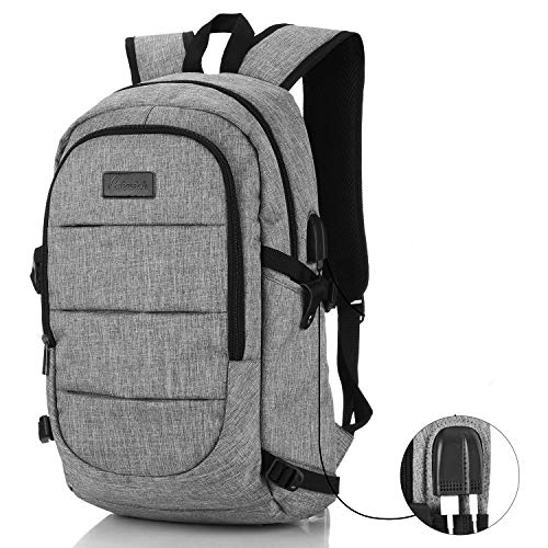Travel Laptop Backpack Business College Student Bag for Man Women Gray