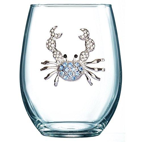 Blue Crab Jeweled Stemless Wine Glass ()