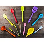 11pc Silicone Kitchen Utensil Set by CuisineFacets Colorful Cooking Utensils with Spatula, Serving Tools, Accessories and FREE Spoon Rest - Heat Resistant Spatulas and Spoons for Non-Stick Cookware 12 ✅11PC incl. FREE SPOON REST: Imagine how many colorful food creations you can now unleash all at once, because your utensil set includes everything! Silicone Wisk, Pastry Brush, 2x Spatulas, Slotted Spoon, Salad Spoon, Food Tong, All-Purpose Spoon, large Ladle, Slotted Turner, and BONUS Spoon Rest. ✅HEAT RESISTANT & EASY TO CLEAN: From the Rainbow Whisk to the Pink Pastry Brush, just pop your silicone kitchen utensils in the dishwasher to clean. Everything is made from FDA Compliant Food Grade Silicone and can withstand temperatures up to 446°F... like steaming hot pasta, pumpkin soup or pancakes. ✅WHAT'S YOUR FAVE? If you're like most people, there are always 1 or 2 kitchen tools you love the most. And if you're like us, it could even be because of color. Either way, our Cheery Utensils Set from CuisineFacets gives you the best of both - your favorite non-stick kitchen utensils, in your favorite colors too.