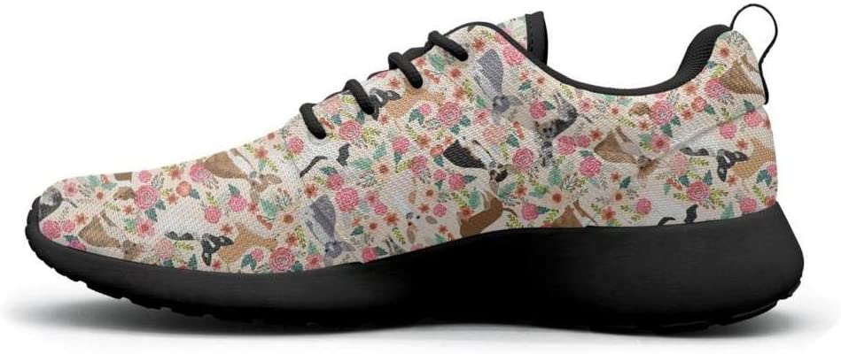 Gjsonmv Cute Pets Chihuahua Dog and Floral mesh Lightweight Shoes for Women Non Slip Sports Workout Sneakers Shoes