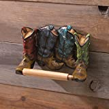 GHP 8.25''x4.25''x5.75'' Western Bath Decor Cowboy Boots Toilet Paper Holder