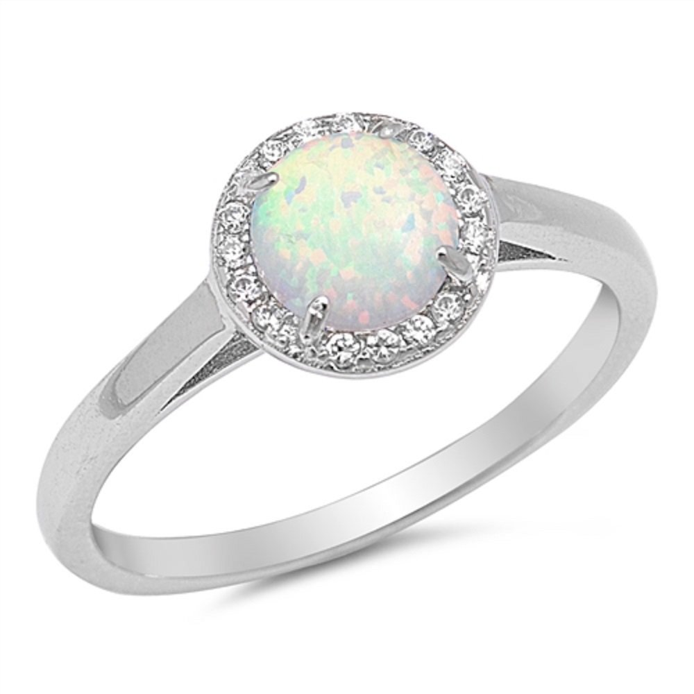 CloseoutWarehouse Round White Simulated Opal Surrounded By Small Cubic Zirconia Stones Solitaire Ring 925 Sterling Silver Size 9