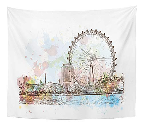 Emvency Tapestry Artwork Wall Hanging Eye Watercolor Sketch of Giant Ferry London UK United Kingdom England in Hand City 50x60 Inches Tapestries Mattress Tablecloth Curtain Home Decor Print