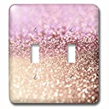 3dRose (lsp_272849_2) Double Toggle Switch (2) Sparkling Rose Gold Pink Luxury Shine Girly Elegant Mermaid Glitter