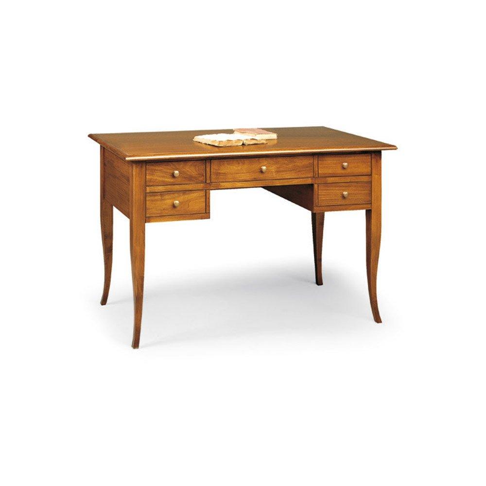 107 x 56 x 81 /… Bureau Dim Style Classique en Bois Massif et MDF avec Finition Noyer Brillant