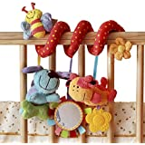 Stillcool Baby cot mobiles dog bee with Mirror Bell Baby Music Bed Hanging Cribs Toy-Baby Children Twisty Curly Pram Pushchairs Car Seat Cot Toy-Musical Bed Cartoon Gift Toys