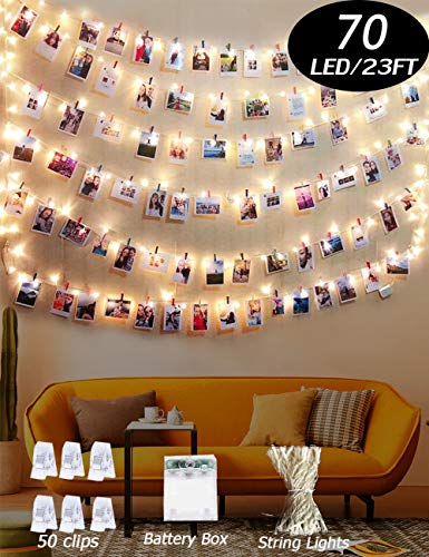 Warm White Light Photo Clip String Lights 23Ft - 70 LED Fairy String Lights with 50 Clear Clips for Hanging Pictures, Perfect Dorm Bedroom Wall Decor Wedding christmas decoration(battery operated)