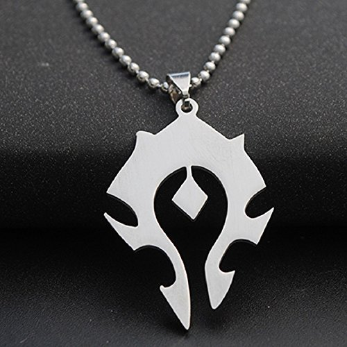 Dastan Stainless Steel Necklace WOW World of Warcraft Symbol Horde Logo Pendant on Beaded Chain by Dastan (Image #2)
