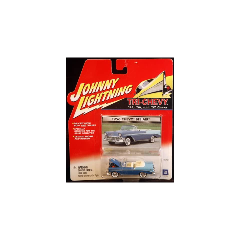 Johnny Lightning Tri Chevy 1956 Chevy Bel Air Conveertable 2 Tone Blue