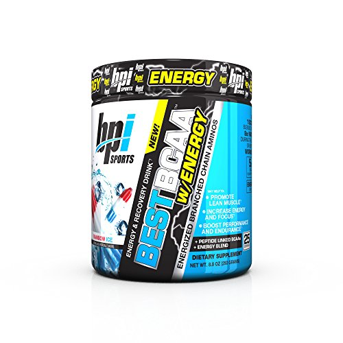 BPI Sports Best BCAA with Energy - Healthy BCAA Powder - Improved Performance - Lean Muscle Building - Accelerated Recovery - Proprietary Energy Blend - Rainbow Ice - 25 Servings -
