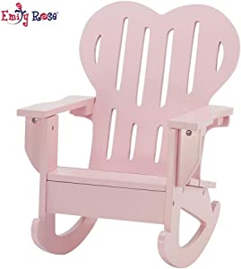 Emily Rose 18 Inch Doll Furniture | Pink Outdoor Adirondack Rocking Chair with Heart Shaped Back | Fits American Girl Dolls