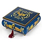Handcrafted Radiant Blue 36 Note Roses and Ribbons Musical Jewelry Box with Lock and Key - Diamonds are a Girls Best Friend