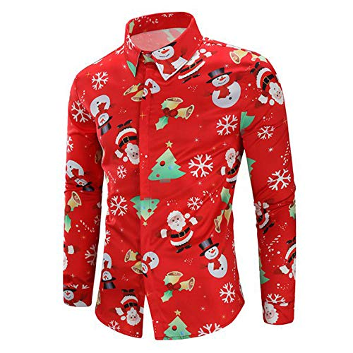 Gallity Mens Xmas Holiday Button Down Ugly Shirt Christmas Printing Long Sleeved T-Shirt Party Lapel Blouse (L, Red)