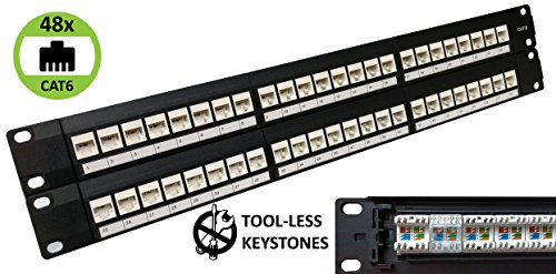 48-Port CAT6 Unshielded 2U Patch Panel 19-Inch Loaded w/ Tool-less Keystone Jacks Rackmount or Wallmount (Panel Down Patch Punch)